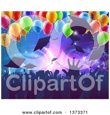 Clipart of a Crowd of Silhouetted Graudate Hands Throwing up Their Mortar Board Caps Under 3d Party Balloons - Royalty Free Vector Illustration by AtStockIllustration