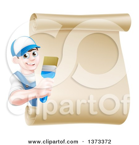 Clipart of a Happy Brunette White Male House Painter Holding a Brush Around a Scroll Sign - Royalty Free Vector Illustration by AtStockIllustration