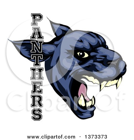 Clipart of a Tough Roaring Black Panther Mascot Head with Text - Royalty Free Vector Illustration by AtStockIllustration