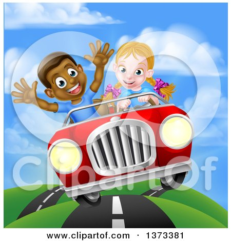 Clipart of a Happy White Girl Driving a Red Convertible Car and a Black Boy Holding His Arms up in the Passenger Seat As They Catch Air - Royalty Free Vector Illustration by AtStockIllustration