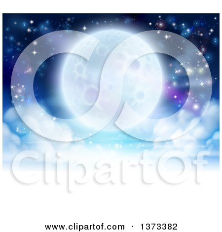 Clipart of a Full Moon Glowing in a Night Sky over a Layer of Clouds - Royalty Free Vector Illustration by AtStockIllustration