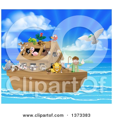 Clipart of a Christian Bible Story Scene of Noah on His Ark with the White Dove Returning with the Olive Branch - Royalty Free Vector Illustration by AtStockIllustration