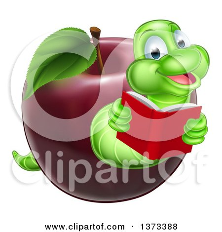 Clipart of a Cartoon Happy Green Book Worm Reading and Emerging from a Red Apple - Royalty Free Vector Illustration by AtStockIllustration