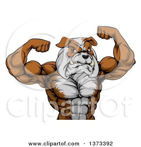 Clipart of a Muscular Bulldog Man Mascot Flexing, from the Waist up - Royalty Free Vector Illustration by AtStockIllustration
