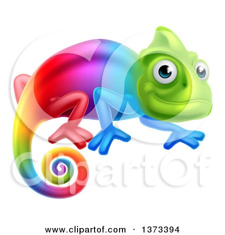 Clipart of a Happy Rainbow Chameleon Lizard - Royalty Free Vector Illustration by AtStockIllustration