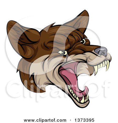 Clipart of a Coyote Mascot Head Howling - Royalty Free Vector Illustration by AtStockIllustration