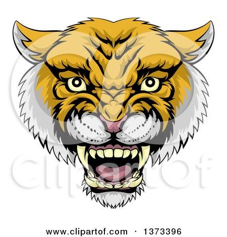 Clipart of a Fierce Wildcat Mascot Head Roaring - Royalty Free Vector Illustration by AtStockIllustration