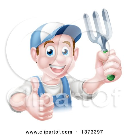 Clipart of a Happy Young Brunette White Male Gardener in Blue, Holding a Garden Fork and Thumb up over a Sign - Royalty Free Vector Illustration by AtStockIllustration