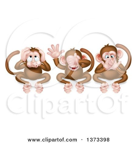 Clipart of the Three Wise Monkeys Covering Their Ears, Eyes and Mouth, Hear No Evil, See No Evil, Speak No Evil - Royalty Free Vector Illustration by AtStockIllustration