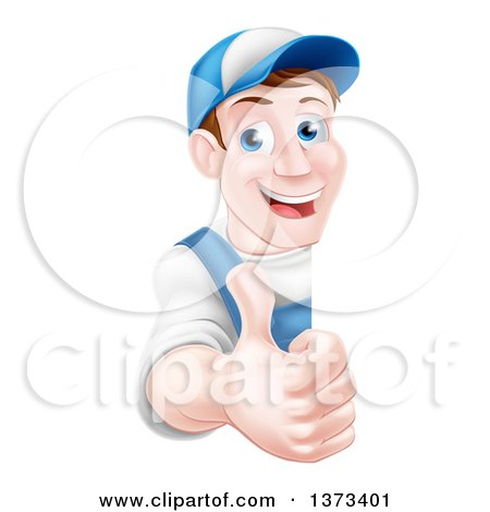 Clipart of a Happy Middle Aged Brunette Caucasian Mechanic Man in Blue, Wearing a Baseball Cap, Giving a Thumb up Around a Sign - Royalty Free Vector Illustrationz by AtStockIllustration