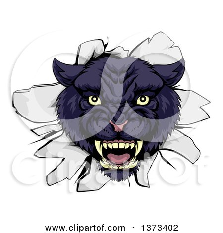 Clipart of a Fierce Black Panther Breaking Through a Wall - Royalty Free Vector Illustration by AtStockIllustration
