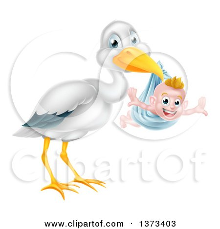 Clipart of a Stork Bird Holding a Happy Baby Boy in a Blue Bundle - Royalty Free Vector Illustration by AtStockIllustration