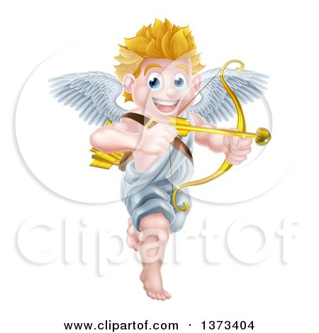 Clipart of a Happy Blond Caucasian Valentines Day Cupid Smiling and Aiming an Arrow - Royalty Free Vector Illustration by AtStockIllustration
