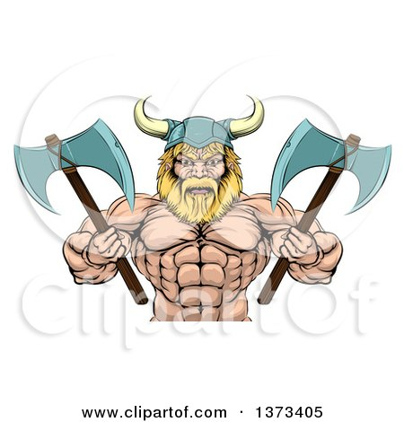 Clipart of a Cartoon Tough Muscular Blond Male Viking Warrior Holding Axes, from the Waist up - Royalty Free Vector Illustration by AtStockIllustration