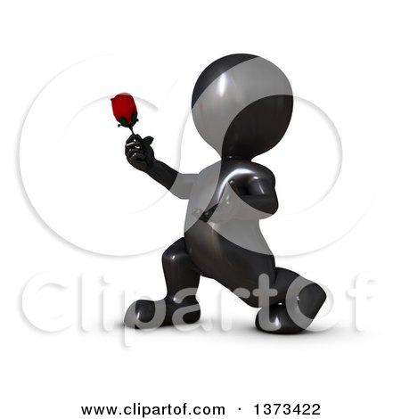 Clipart of a 3d Romantic Black Man Holding out a Rose, on a White Background - Royalty Free Illustration by KJ Pargeter