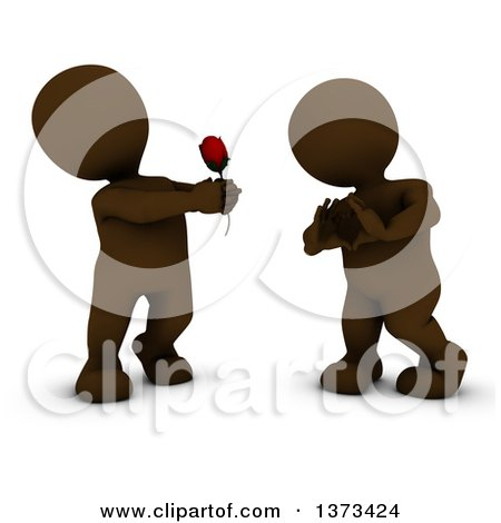 Clipart of a 3d Brown Man Giving a Woman a Rose As She Gestures a Heart, on a White Background - Royalty Free Illustration by KJ Pargeter