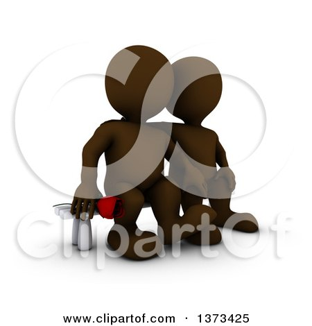 Clipart of a 3d Brown Man Holding a Rose and Sitting Next to His Love, on a White Background - Royalty Free Illustration by KJ Pargeter