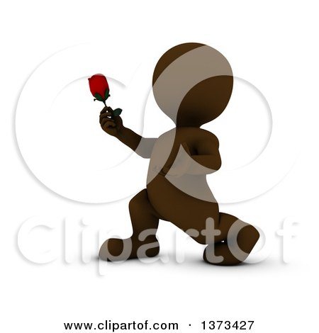 Clipart of a 3d Romantic Brown Man Holding out a Rose, on a White Background - Royalty Free Illustration by KJ Pargeter