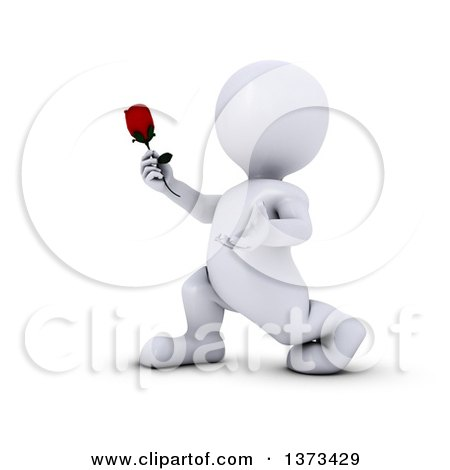 Clipart of a 3d Romantic White Man Holding out a Rose, on a White Background - Royalty Free Illustration by KJ Pargeter