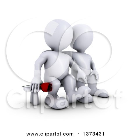 Clipart of a 3d White Man Holding a Rose and Sitting Next to His Love, on a White Background - Royalty Free Illustration by KJ Pargeter