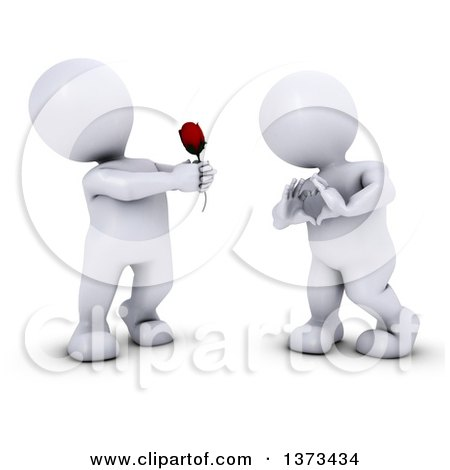 Clipart of a 3d White Man Giving a Woman a Rose As She Gestures a Heart, on a White Background - Royalty Free Illustration by KJ Pargeter