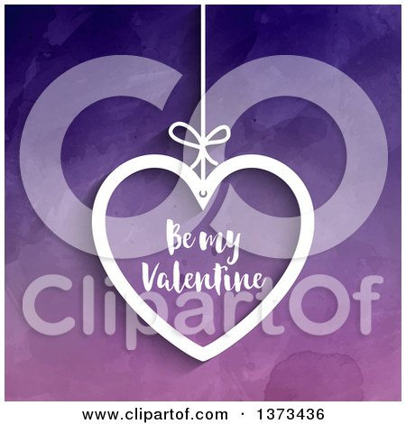 Clipart of a Suspended White Heart with Be My Valentine Text over Purple Watercolour - Royalty Free Vector Illustration by KJ Pargeter