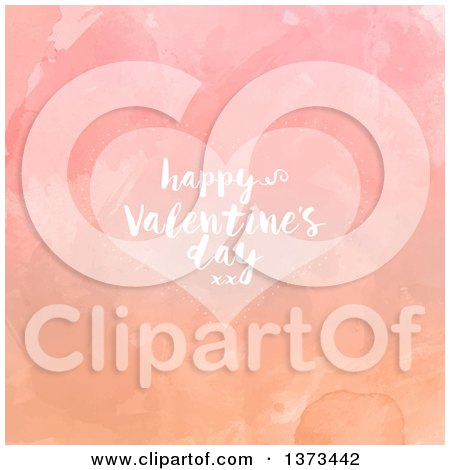 Clipart of a Happy Valentines Day Greeting on a Heart over Watercolour - Royalty Free Vector Illustration by KJ Pargeter