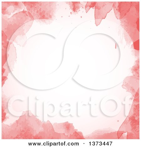 Clipart of a Pink Painted Watercolour Border with Text Space - Royalty Free Vector Illustration by KJ Pargeter
