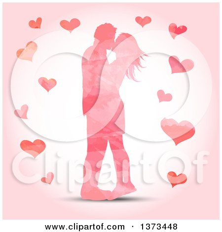 Clipart of a Pink Watercolour Painted Valentines Day Couple Kissing, with Hearts - Royalty Free Vector Illustration by KJ Pargeter