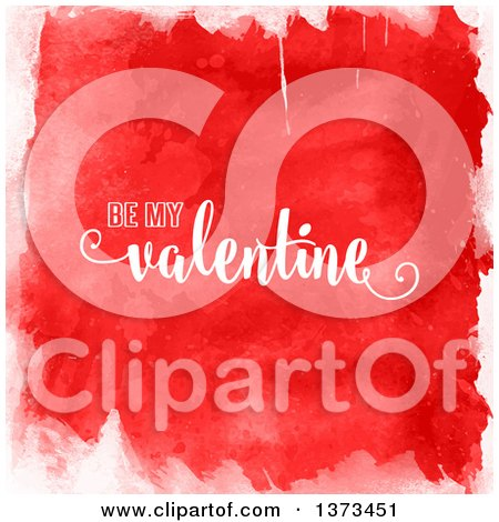 Clipart of Be My Valentine Text over Red Watercolour - Royalty Free Vector Illustration by KJ Pargeter