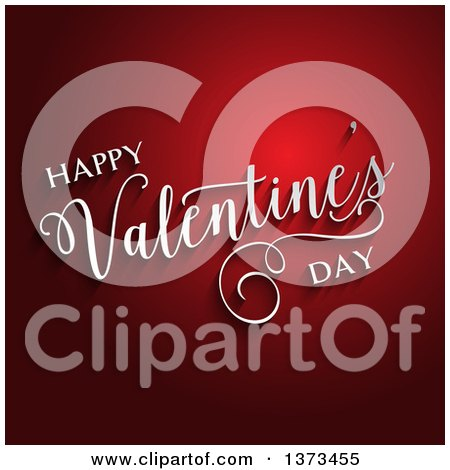Clipart of a 3d White Happy Valentines Day Text and Shadows over Red - Royalty Free Vector Illustration by KJ Pargeter