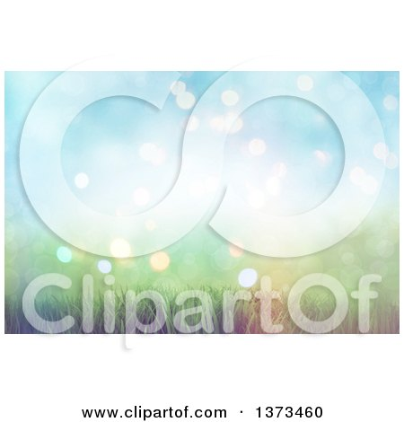Clipart of a Background of 3d Grass and Soft Sunlight with Flares - Royalty Free Illustration by KJ Pargeter