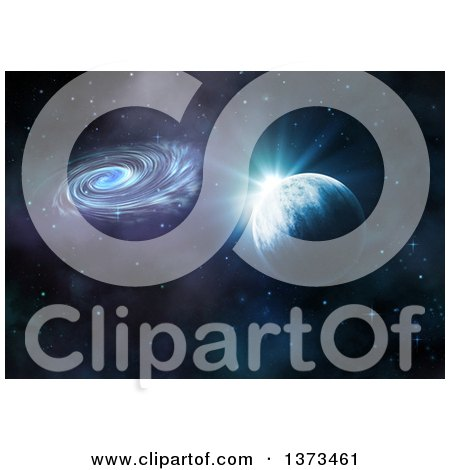 Clipart of a 3d Fictional Planet with Spiral Galaxy, Nebula and Stars - Royalty Free Illustration by KJ Pargeter