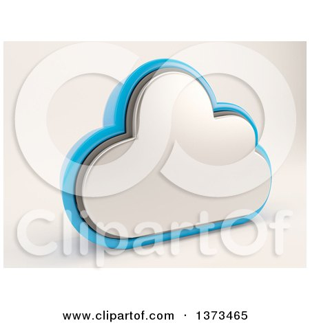Clipart of a 3d Cloud Drive Storage Icon, on Shaded White - Royalty Free Illustration by KJ Pargeter