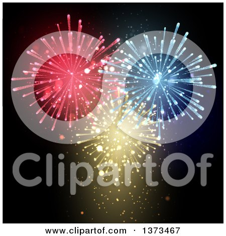 Clipart of a Fireworks Display of Red, Blue and Gold Bursts in a Black Sky - Royalty Free Vector Illustration by KJ Pargeter