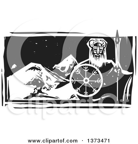 Clipart of a Black and White Woodcut Viking Warrior over Mountains at Night - Royalty Free Vector Illustration by xunantunich