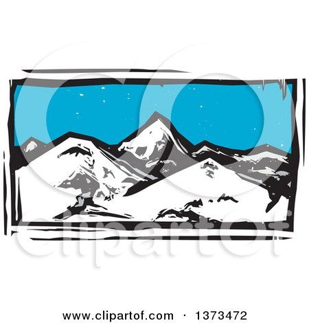 Clipart of a Woodcut Landscape of Mountains - Royalty Free Vector Illustration by xunantunich