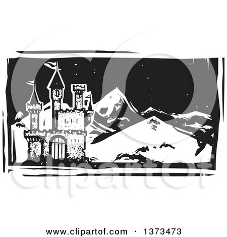 Clipart of a Black and White Woodcut Landscape of a Castle and Mountains at Night - Royalty Free Vector Illustration by xunantunich