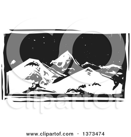 Clipart of a Black and White Woodcut Landscape of Mountains at Night - Royalty Free Vector Illustration by xunantunich