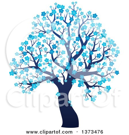 Clipart of a Silhouetted Tree with Blue Winter Blossoms - Royalty Free Vector Illustration by visekart
