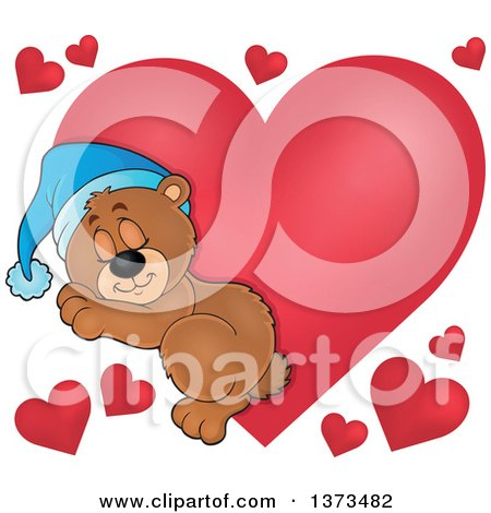 Clipart of a Cartoon Cute Brown Bear Sleeping over Red Valentine Hearts - Royalty Free Vector Illustration by visekart