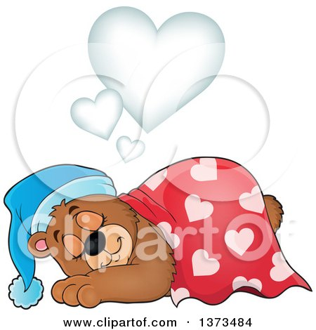 Clipart of a Cartoon Cute Brown Bear Sleeping and Dreaming Under Hearts - Royalty Free Vector Illustration by visekart