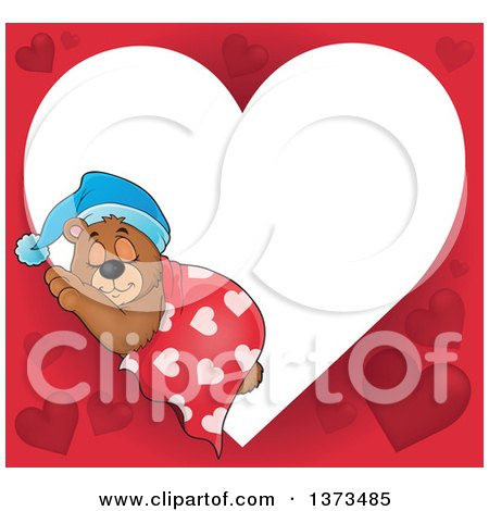 Clipart of a Valentine Heart Shaped Frame of a Cute Brown Bear Sleeping with a Blanket and Night Cap - Royalty Free Vector Illustration by visekart