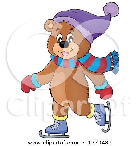 Clipart of a Happy Bear Ice Skating and Wearing Winter Accessories - Royalty Free Vector Illustration by visekart