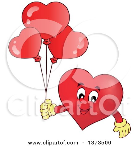 Clipart of a Valentine Heart Character Holding Balloons - Royalty Free Vector Illustration by visekart