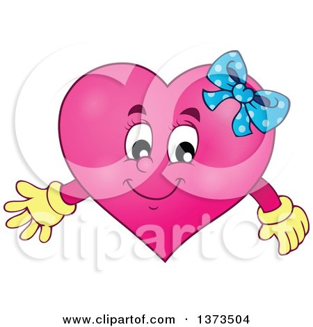 Clipart Of A Pink Female Valentine Heart Character Royalty Free Vector Illustration