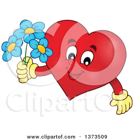 Clipart of a Valentine Heart Character Holding Flowers - Royalty Free Vector Illustration by visekart
