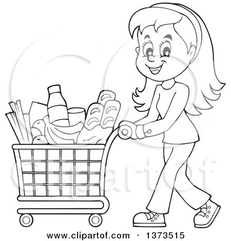 clipart of a cartoon black and white happy woman pushing a