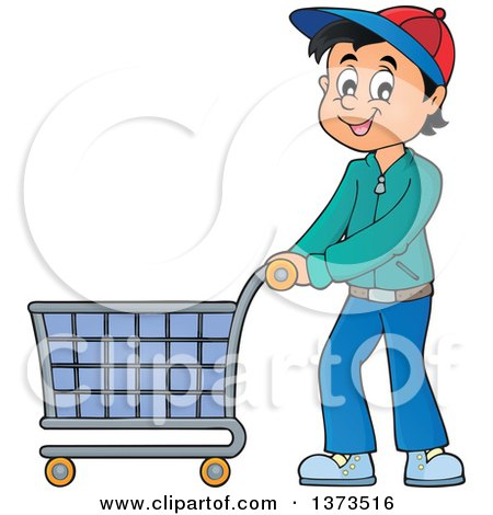 Clipart of a Cartoon Happy White Man Pushing a Shopping Cart - Royalty Free Vector Illustration by visekart