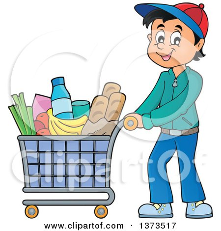 Clipart of a Cartoon Happy White Man Pushing a Shopping Cart Full of Groceries - Royalty Free Vector Illustration by visekart
